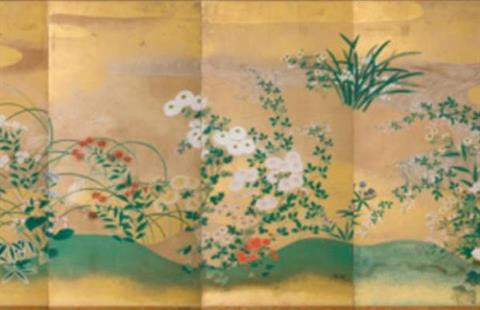 Rinpa School Japan 1600-1800 Autumn flowers and grasses late 1700s