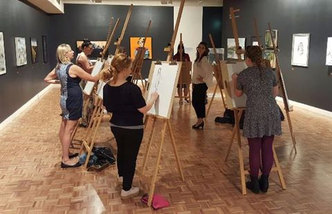 Artists enjoying an art workshop at Rockhampton Art Gallery