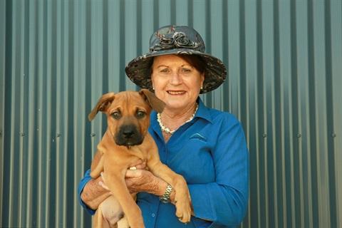 Councillor Smith holding puppy
