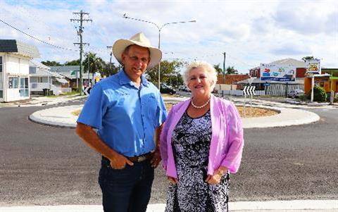 Cr-Tony-Williams-and-Michelle-Landry-MP-at-Campbell-Denham-roundabout
