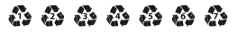 Recycling symbols 1 to 7